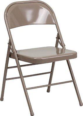 Lot Of 100 New Metal Heavy Duty Folding Chairs Beige Triple Bracedquad Hinged