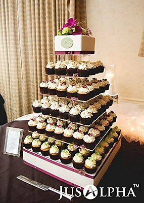 Large 4 5 6 7 8 Tier Acrylic Glass Square Wedding Cupcake Stand Tower (Cupcake Towers)