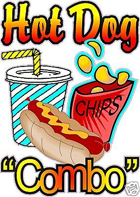 Hot Dog Combo Restaurant Concession Food Sign Decal 14