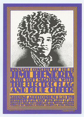 Jimi Hendrix Postcard 1968 Feb 10 Shrine Auditorium John Van Hamersveld