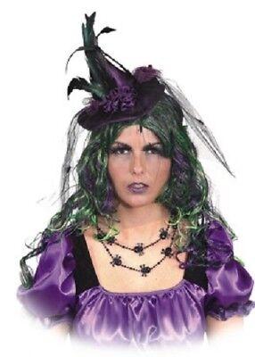 Disfraz De Brujas De Halloween (mujer en morado Brujas De Halloween Mini Sombrero Con Velo Disfraz)