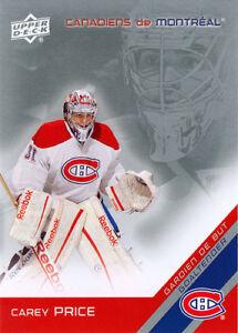 Cartes de hockey Upper Deck 2011-12 Montréal Canadiens