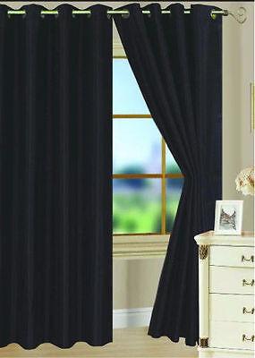 4 PURE BLACK PANEL MICROFIBER  BLACKOUT HEAVY GROMMET WINDOW CURTAIN LINED DRAPE