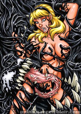 SPIDER GWEN Stacy vs VENOM Symbiote Spider-Man Art 5x7 MINI-PRINT Garrett Blair