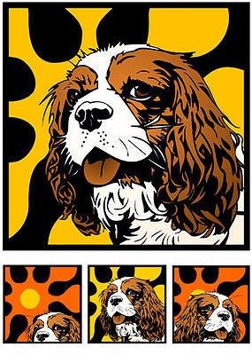 Cavalier King Charles Spaniel Hund popart Retro Foto -o