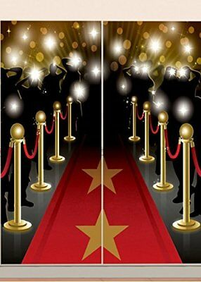 HOLLYWOOD MOVIE Scene Setter WaLL Backdrop Party Room Decoration RED CARPET STAR (Movie Star Red Carpet)
