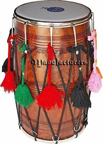 Punjabi Bhangra Dhol Musical Instrument Sheesham Wood Natural Barrel Shaped