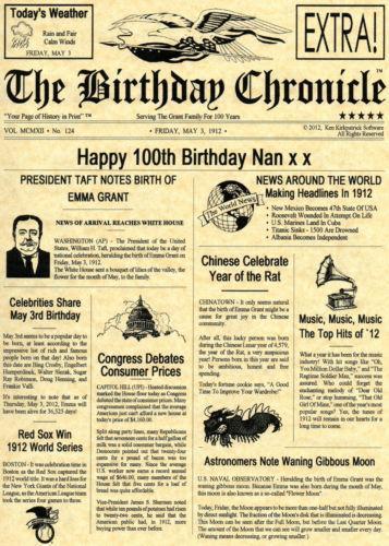 Birthday Newspaper Ebay