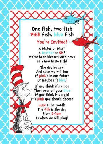 Dr Seuss Baby Shower Invitations Ebay