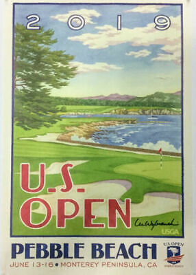 New 2019 US Open Pebble Beach Golf Poster (36 x 24 inches) - Signed
