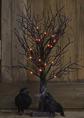 Lighted Black Birch Tree, Halloween Battery Operated Tree Lights with Spider We