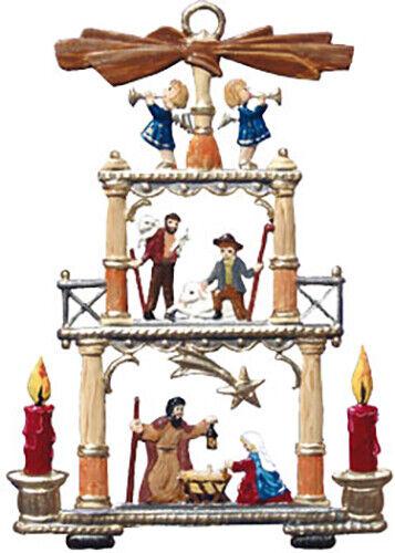 """WILHELM SCHWEIZER GERMAN ZINNFIGUREN Nativity Pyramid (2"""" x 2.75"""" High)"""