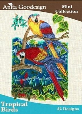 Anita Goodesign Tropical Birds Embroidery Machine Design CD NEW 32MAGHD