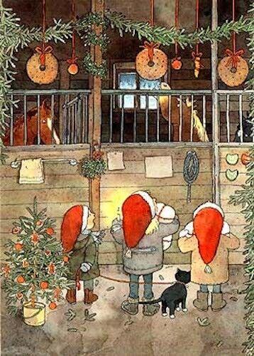 Anne-Sofie Jeppson Postcard Horses Cat Stable Children Christmas Tree Sweden