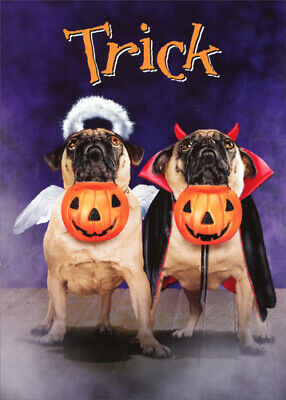 Two Pugs In Halloween Costumes Dog Halloween Card by Avanti Press - Pugs Halloween Costumes