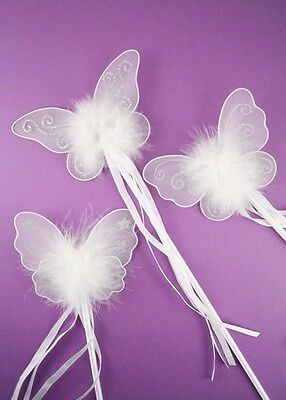 GIRLS LADIES PINK / WHITE BUTTERFLY FAIRY WAND FANCY DRESS DRESSING UP WAND GIRL