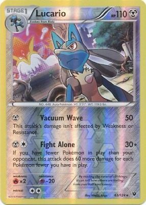 POKÉMON LUCARIO 63/124 RARE REVERSE HOLOFOIL NM CARD   FATES (Holofoil Rare Single Card)