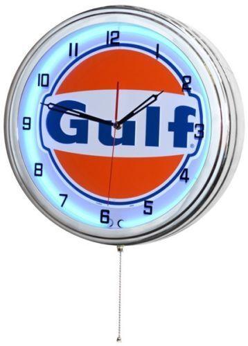 "17"" GULF Gasoline Motor Oil Gas Station Sign Blue Neon Clock No Nox Gulftane"