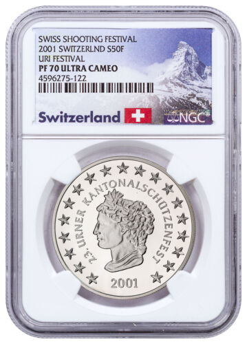 2001 Switzerland Shooting Festival Thaler Uri Silver 50F NGC PF70 UC SKU48979