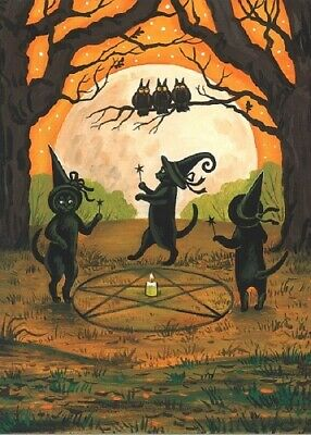 Paintings Of Halloween (ACEO PRINT OF PAINTING RYTA HALLOWEEN BLACK CAT WITCH'S CIRCLE WITCHCRAFT)