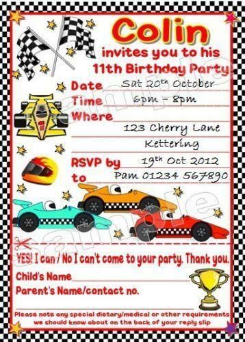 Go kart invitations cards stationery ebay stopboris Image collections