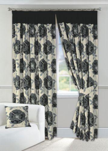 Black Poppy Curtains Ebay