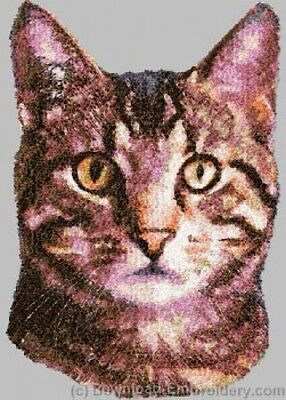 Large Embroidered Zippered Tote - Tabby Cat DLE2644