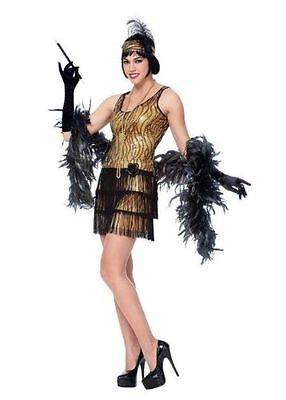 Broadway Flapper Women's Adult Costume Gold Sequin & Fringe Halloween NEW MED SZ