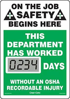 Accuform Mini Digi-Day Electronic Safety Scoreboard On The Job Safety Begins ...