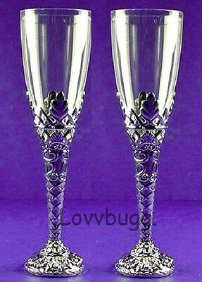 "Lovvbugg Mini Champagne Flutes for 18"" American Girl Doll Accessory"