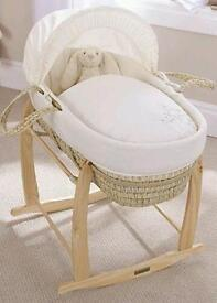 Clair de lune starburst moses basket and rocking stand