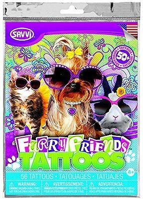Girls Theame Furry Friends Temporary Tattoos - 50+ tattoos (Friends Tattoos)