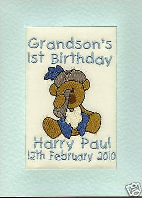 Embroidered Personalised 1st Birthday Greeting Cards Grandson, Son, Dated for sale  United Kingdom