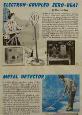 Tube Powered Metal Detector Treasure Finder 1946 Howto Build Plans