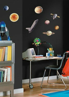 OUTER SPACE TRAVEL wall stickers 24 decals Rocketship Sun Planets Universe decor - Outer Space Decor