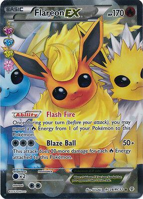 Pokemon  1X Flareon Ex   Rc28 32   Full Art Ultra Rare   Nm Mint Generations