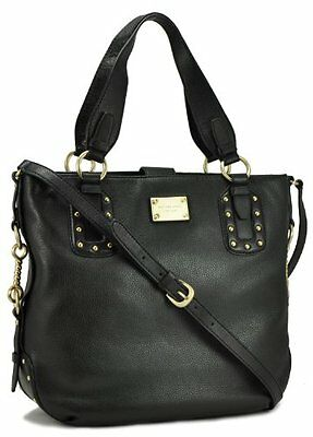NWT! MICHAEL KORS BIG VALLEY LARGE TOTE BLACK LEATHER GOLD BAG PURSE $398