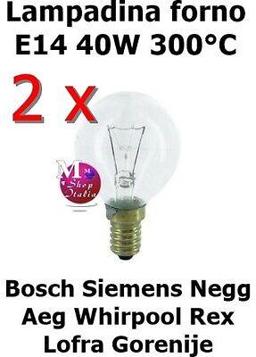 2 Bombillas Originales Esfera Horno Bosch Siemens AEG Rex 40W E14 300°C...
