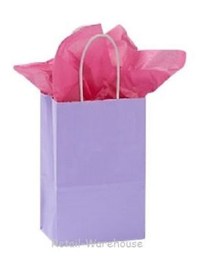 Paper Shopping Bags 25 Glossy Lavender Purple Small Gift 5 ¼