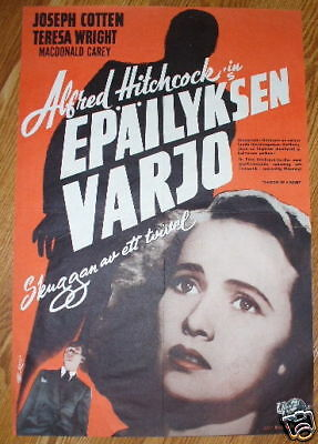 SHADOW OF A DOUBT Alfred Hitchcock Original Finnish poster 1945