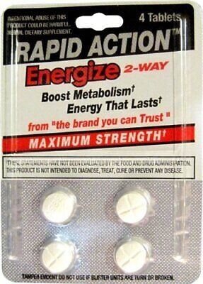 Rapid Action Energize 2-Way Energy Pills Metabolism Booster,9 pack  36 pills