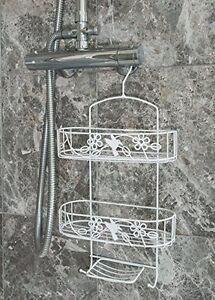 White Suction Hanging Shower Caddy Bathroom Storage Rack Shelf Organiser Basket