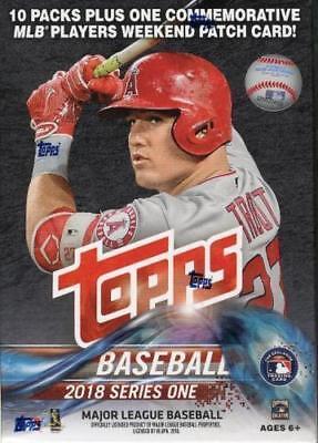 2018 Topps Baseball Series 1 Factory Sealed 10 Pack Blaster Box   1 Memorabilia