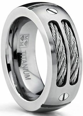 Men's Titanium Ring Wedding Band With Stainless Steel Cable Screw Design NEW*