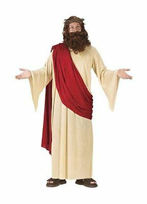 FunWorld Men's Jesus Adult Costume with Crown and Beard, Cream/Red, One Size Fit