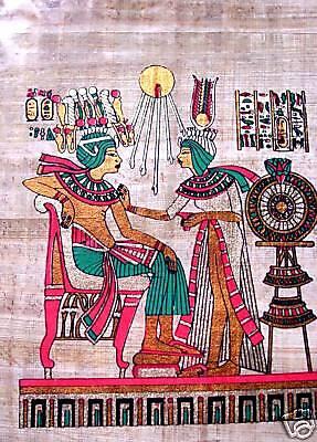 Ägypten Papyrus-Bild 32 x 22 Pharao mit Gemahlin