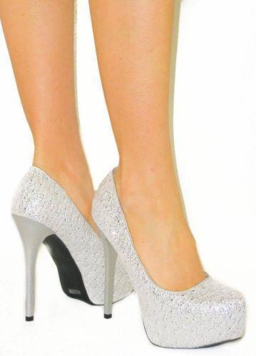 Silver Rhinestone Stiletto Heels