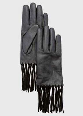 $50 NWT Ladies Gloves BLACK GEN LEATHER SUEDE FRINGE Biker MOTO Motorcycle Glove