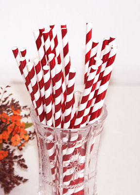 25pcs Red abd White foil paper party straws red christmas xmas party](Christmas Paper Products)