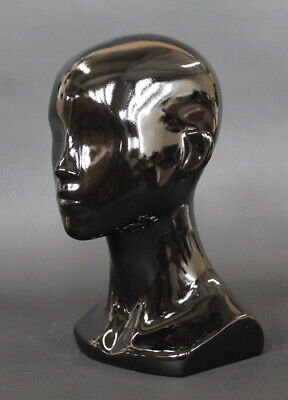 13 In H Female Head Mannequin Bust Form Display Mannequin Glossy Black Mh53-hb